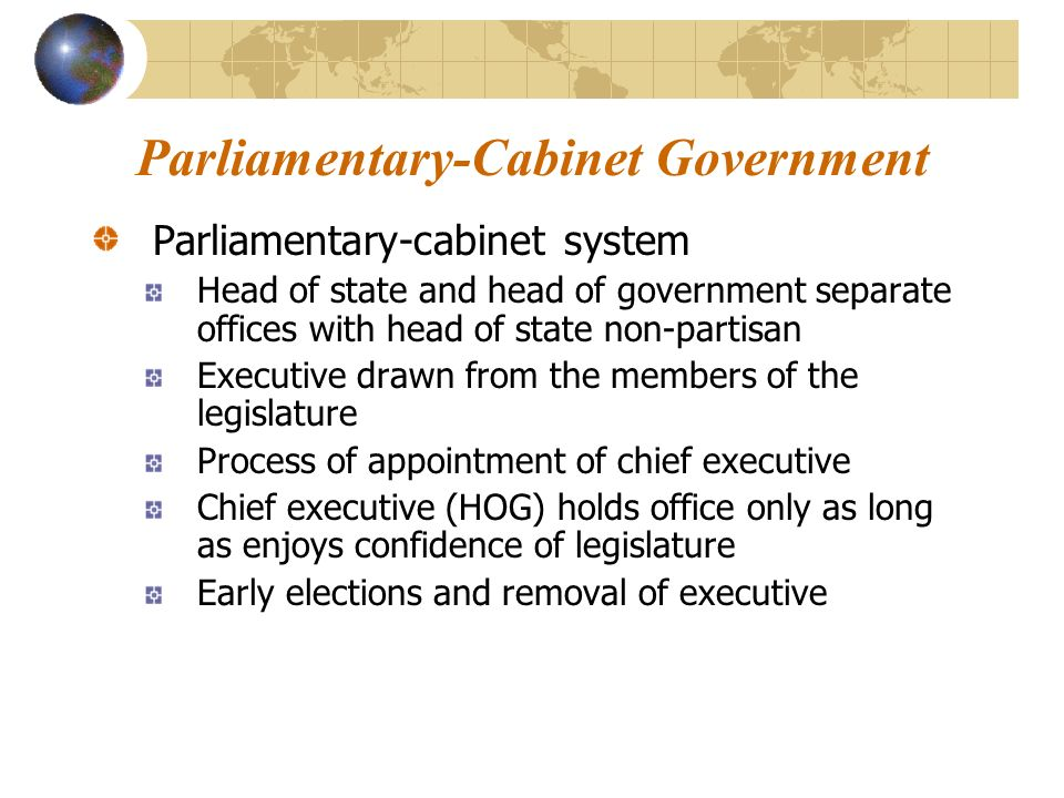 In A Parliamentary System From Where Are Cabinet Members Drawn