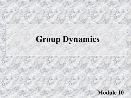 Group Dynamics The social process by which people interact