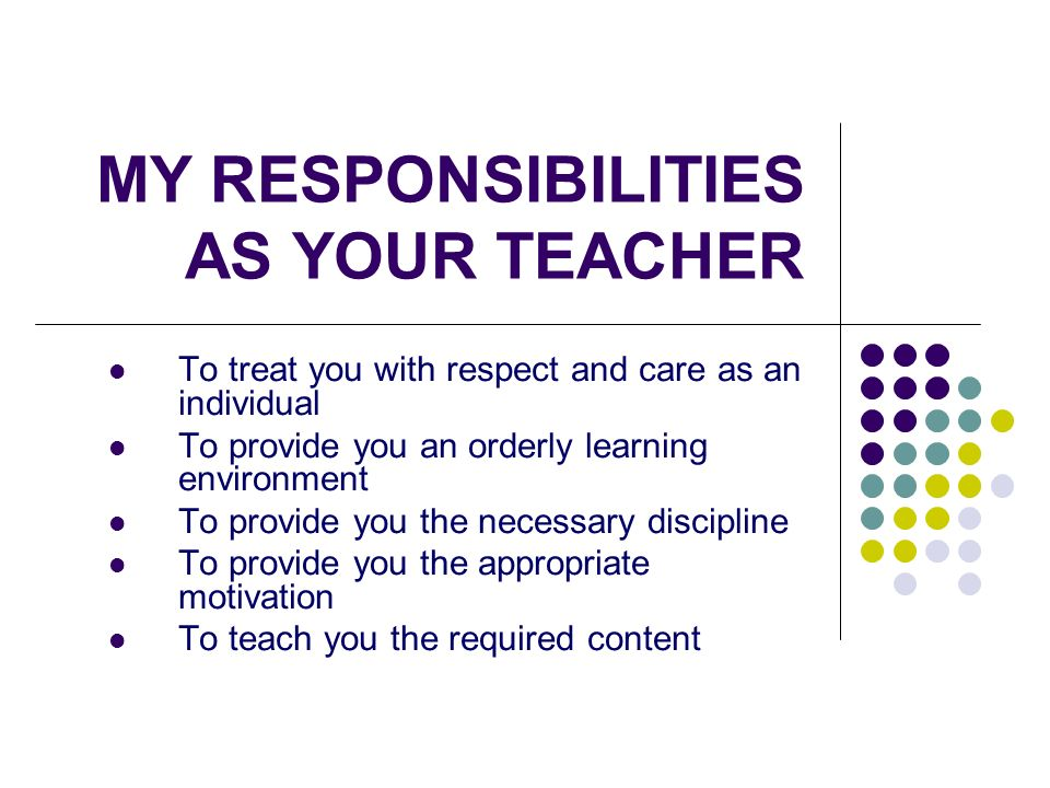 MY RESPONSIBILITIES AS YOUR TEACHER  ppt download