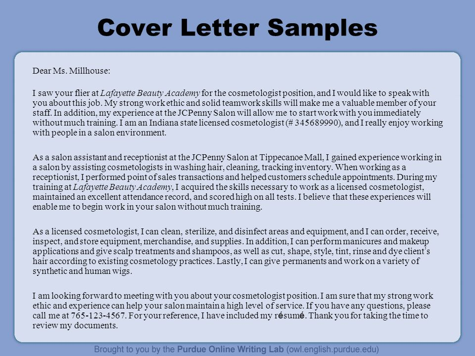 Cosmetology Cover Letter  Cosmetologist Cover Letter