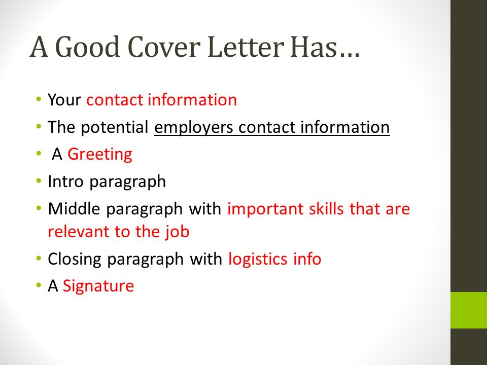 Closing paragraph of cover letter