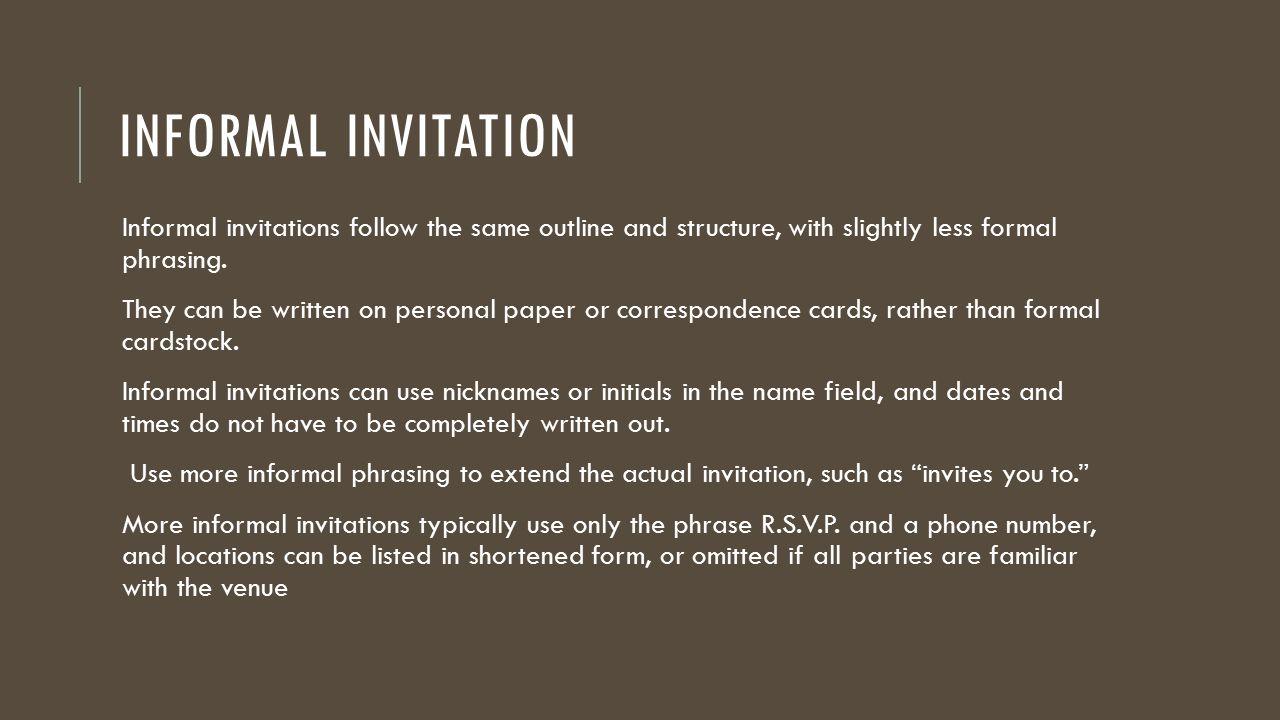 formal and informal invitations