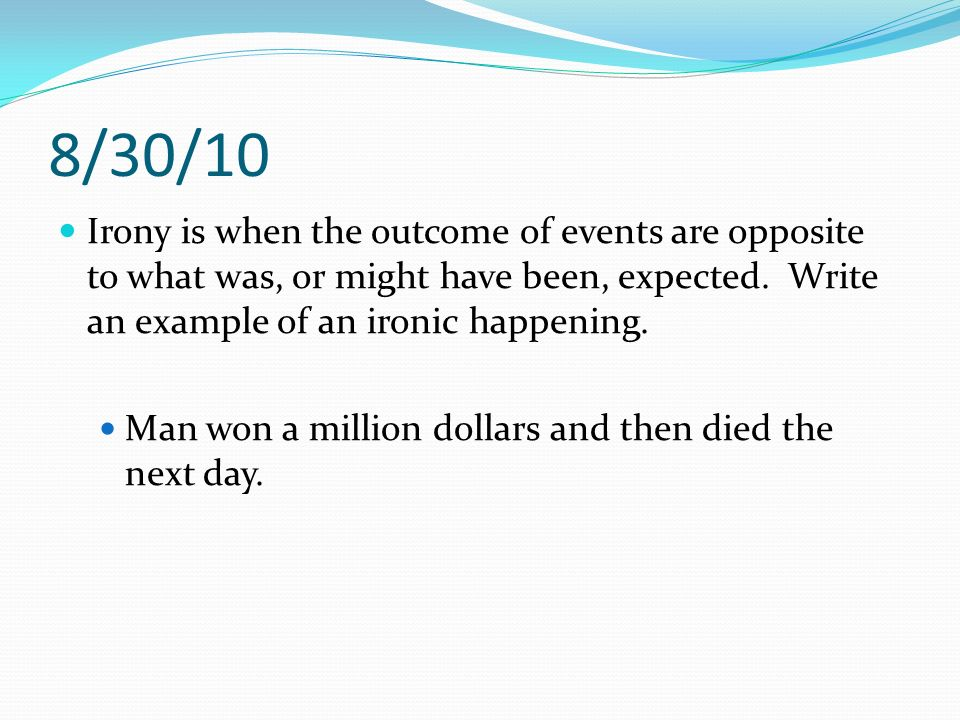 10 examples of irony sentences