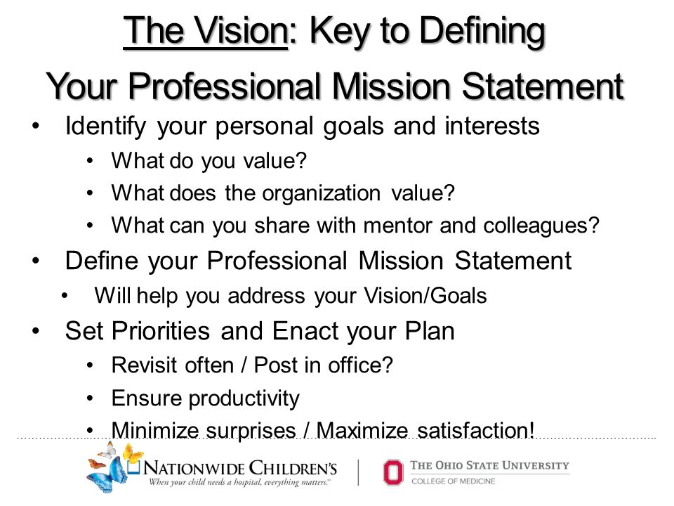 The Professional Mission Statement: Defining Your Career