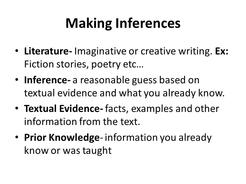 Citing Evidence To Make Inferences In Literature Ppt