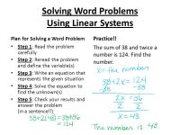 Solving Word Problems Using Systems Of Linear Equations ...