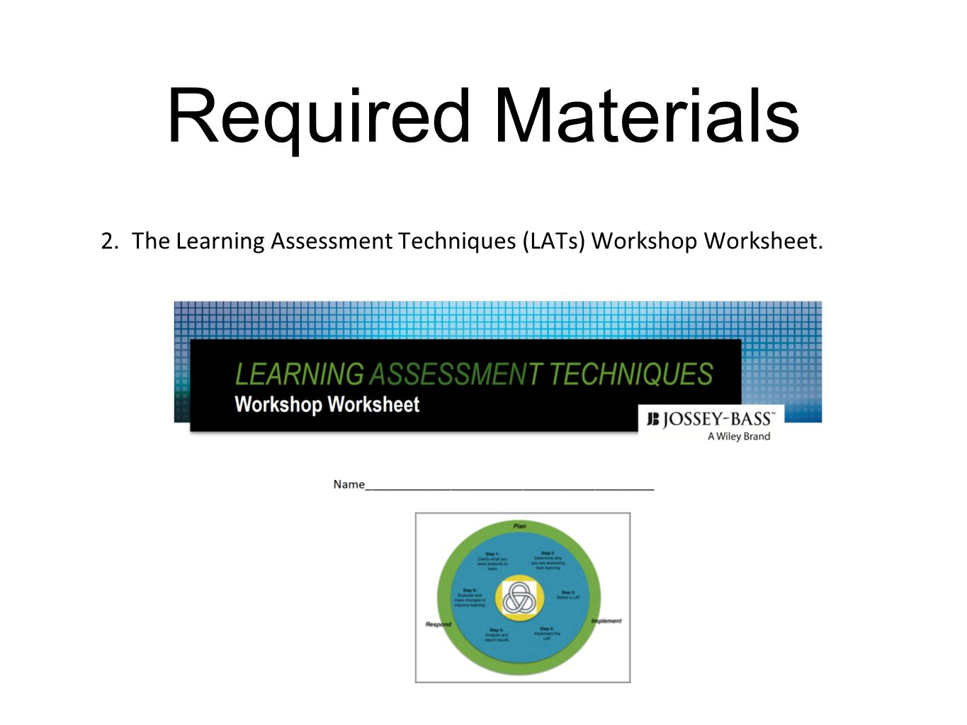 Learning Assessment Techniques Workshop