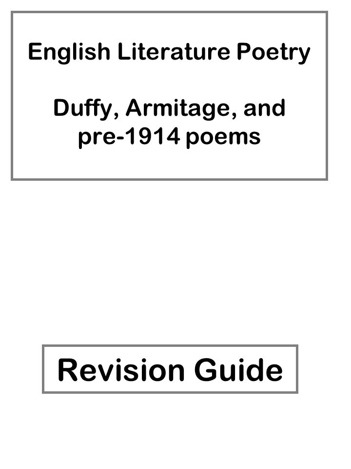 English Literature Poetry Duffy, Armitage, and pre-1914
