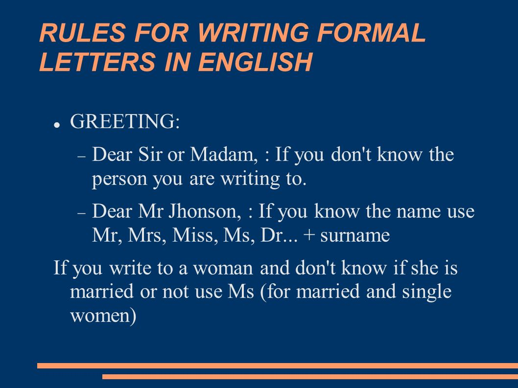 Letter In English Rules