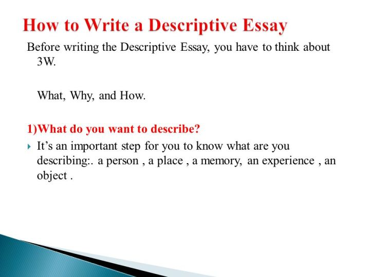 describing a person essay topics The main purpose of descriptive writing is to describe something (a place, person, object, emotion, situation) so that you create an image, or.