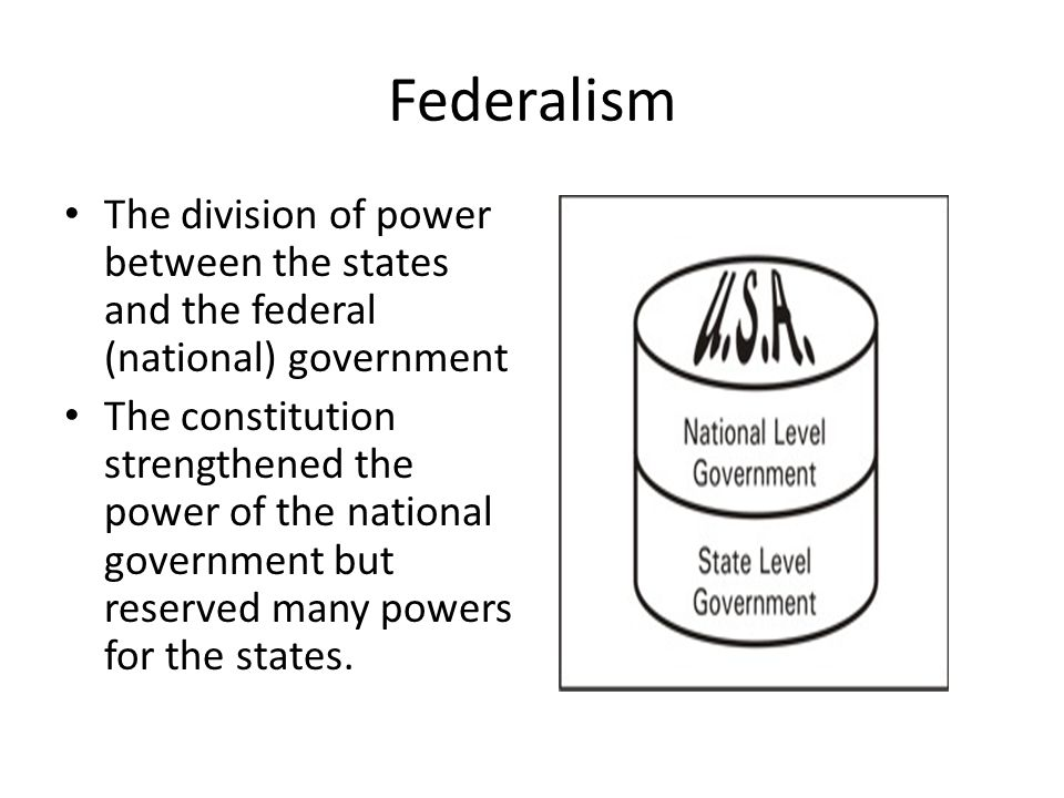 Federalism The division of power between the states and