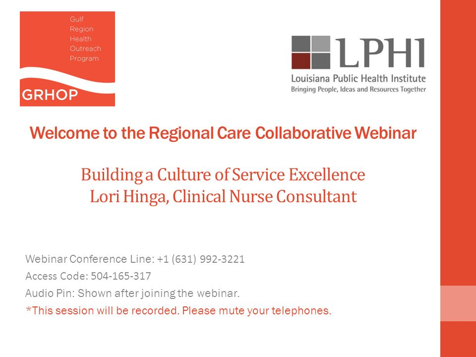 Welcome to the Regional Care Collaborative Webinar