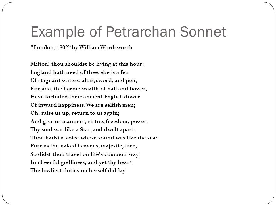 Sonnets A Sonnet Is A 14 Lyric Poem With A Single Theme