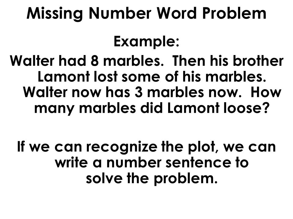 Subtraction Word Problems With Missing Numbers Ppt Video