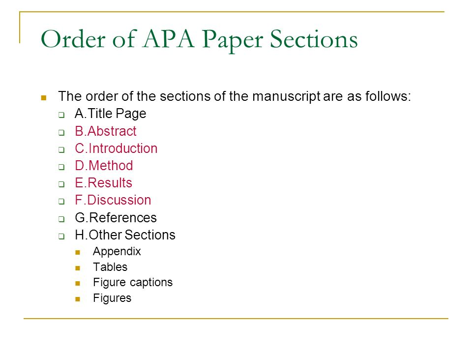 example of results section of research paper apa