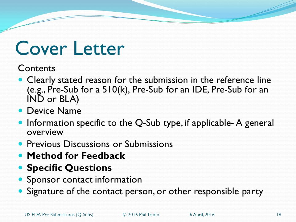 US FDA PreSubmissions Q Subs  ppt download