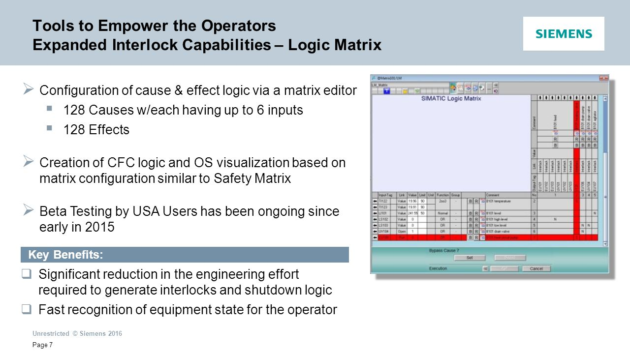 hight resolution of tools to empower the operators expanded interlock capabilities logic matrix