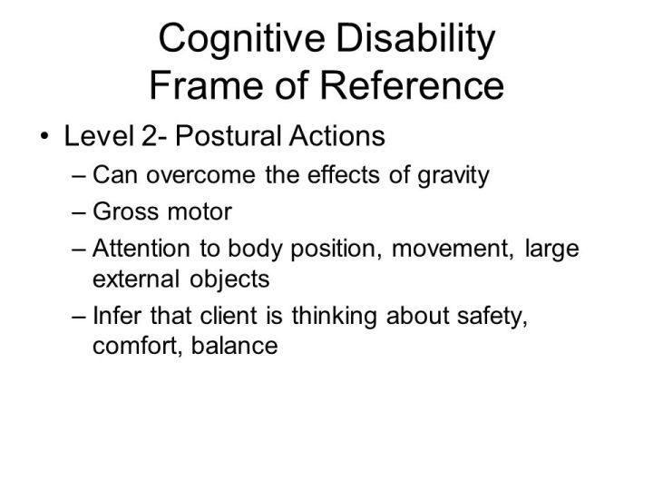 Cognitive Disability Frame Of Reference In Occupational Therapy ...