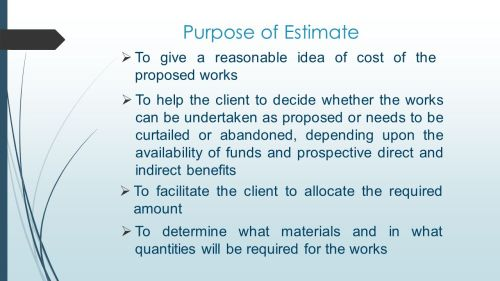 small resolution of purpose of estimate to give a reasonable idea of cost of the proposed works