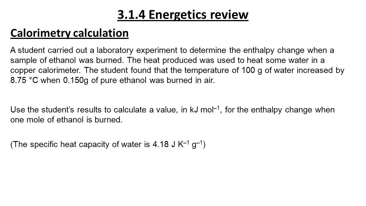 Enthalpy Calorimetry Equation