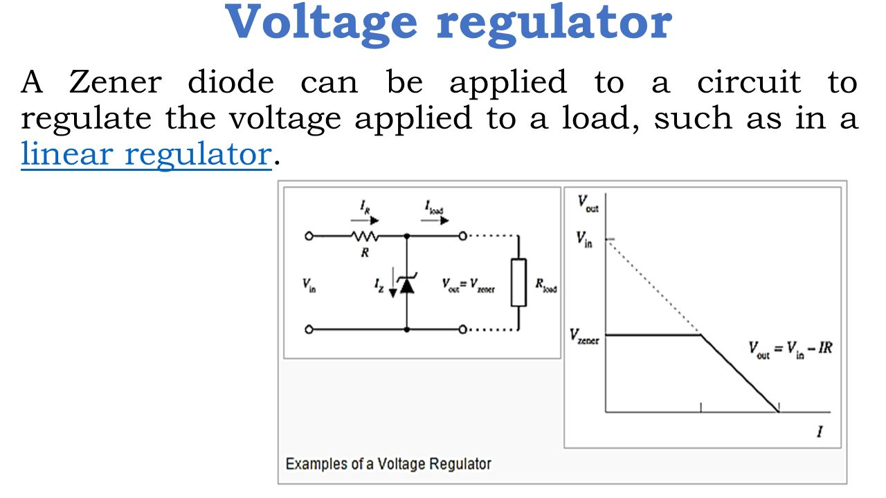 hight resolution of 16 voltage regulator a zener diode can be applied to a circuit to regulate the voltage applied to a load such as in a linear regulator