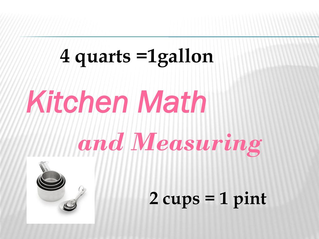Kitchen Math And Measuring 4 Quarts 1gallon 2 Cups 1