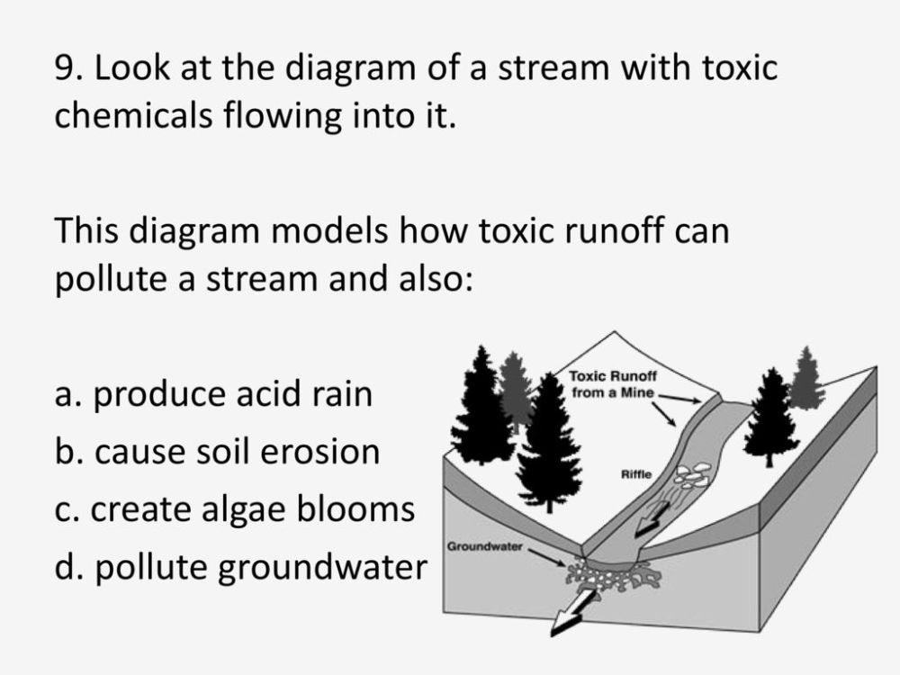 medium resolution of look at the diagram of a stream with toxic chemicals flowing into it