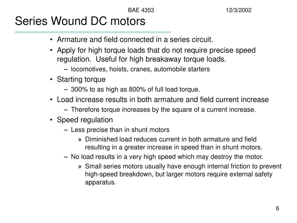 hight resolution of series wound dc motors armature and field connected in