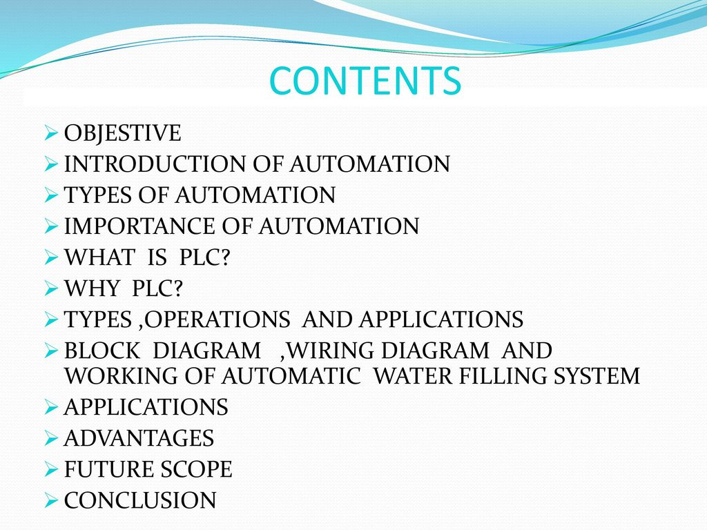 hight resolution of plc based automatic water filling system 2 contents objestive introduction
