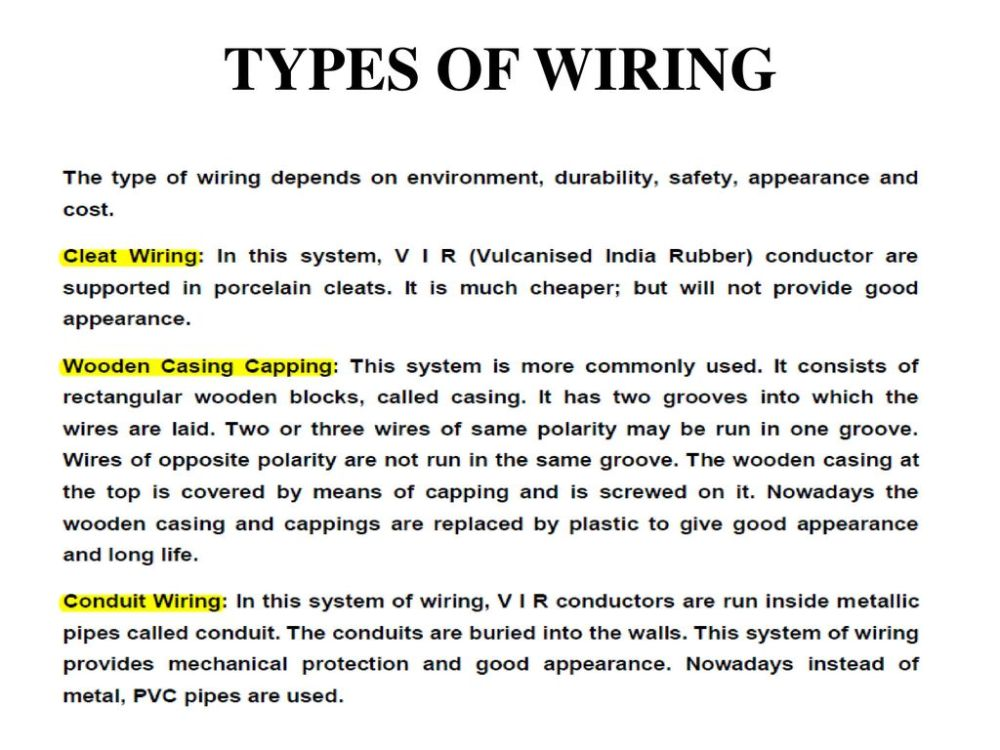 medium resolution of unit 5 electrical safety wiring introduction to power system rh slideplayer com types of wiring system pdf types of wiring diagrams