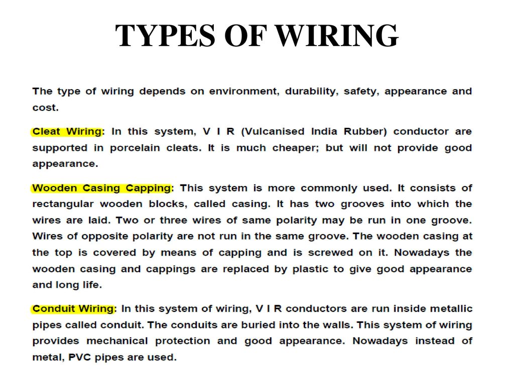 hight resolution of unit 5 electrical safety wiring introduction to power system rh slideplayer com types of wiring system pdf types of wiring diagrams