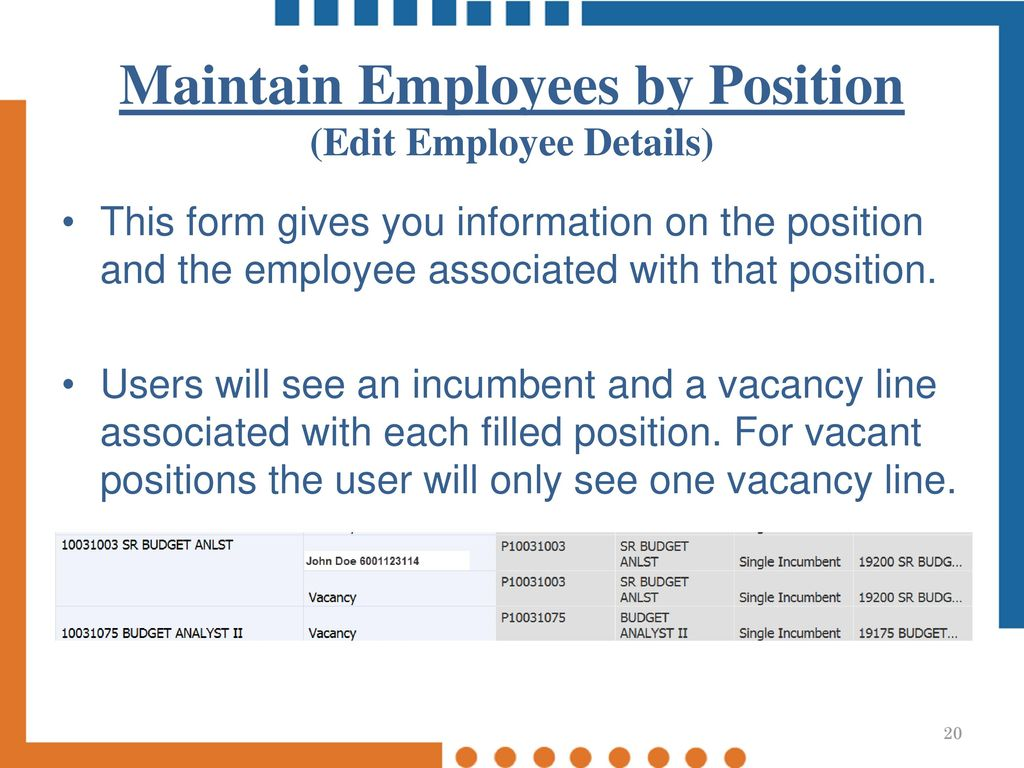 Maintain Employees By Position (Edit Employee Details)
