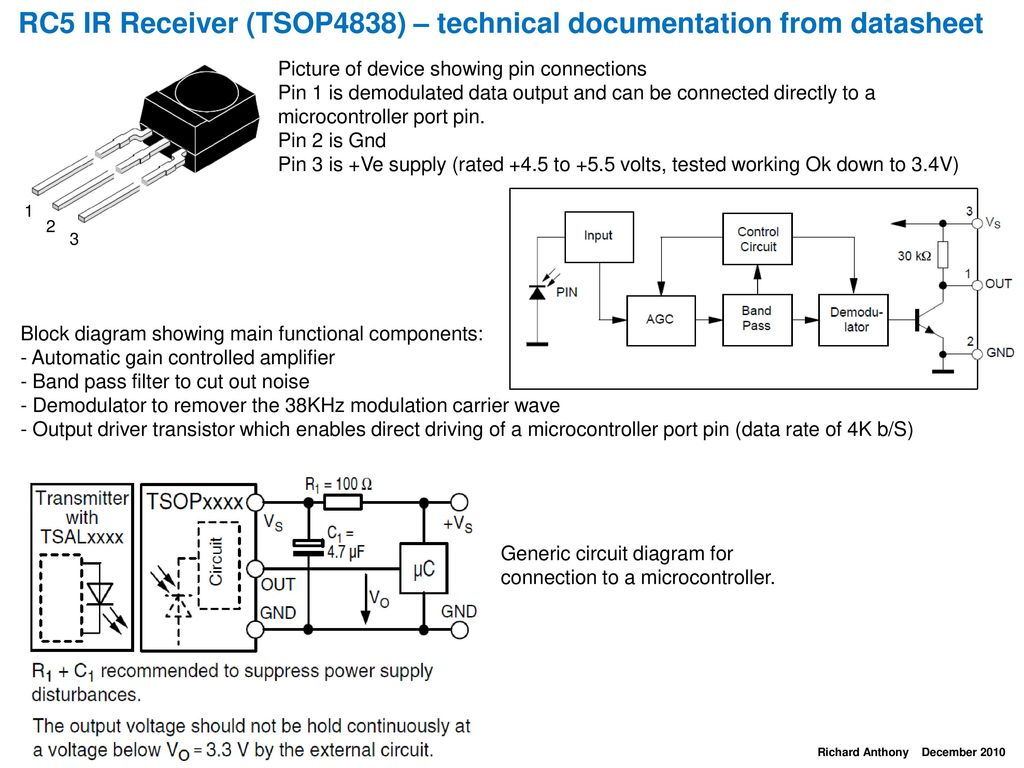 hight resolution of rc5 ir receiver tsop4838 technical documentation from datasheet