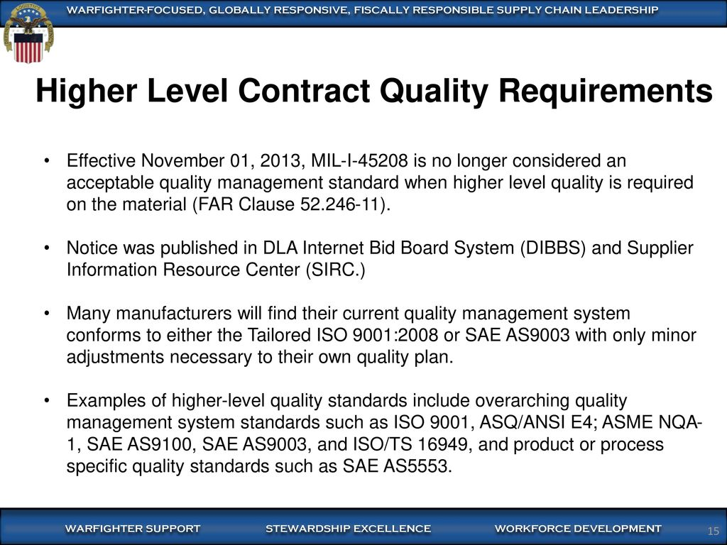 hight resolution of higher level contract quality requirements