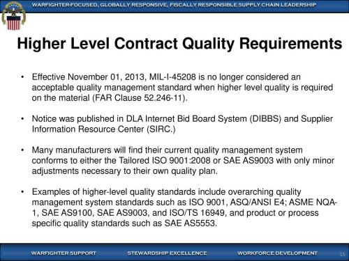 small resolution of higher level contract quality requirements