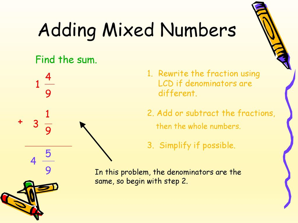 Adding Fractions With Whole Numbers