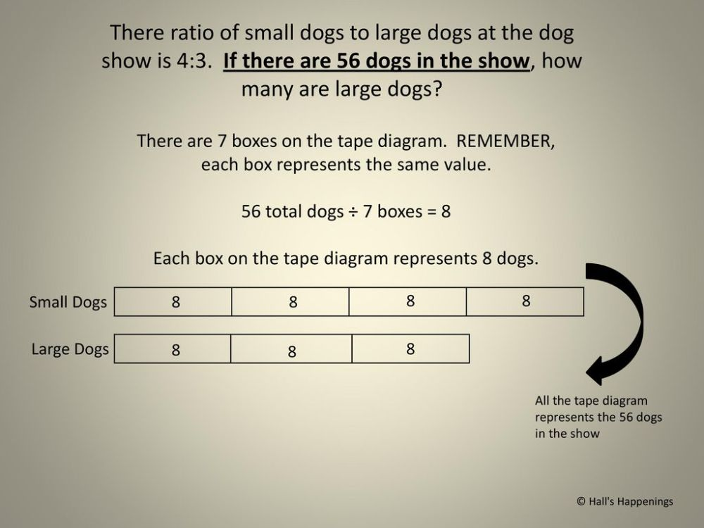 medium resolution of each box on the tape diagram represents 8 dogs