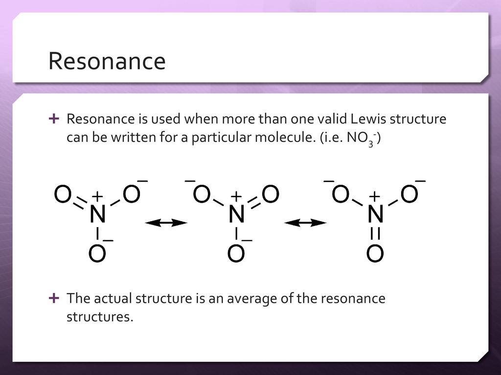 hight resolution of resonance resonance is used when more than one valid lewis structure can be written for a