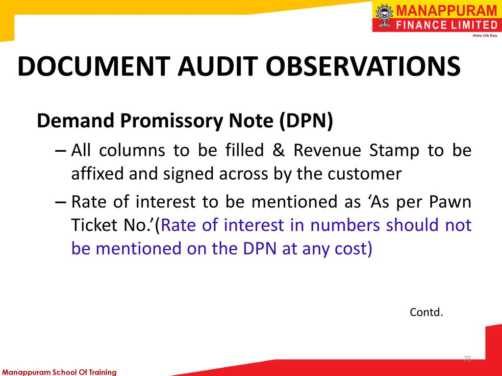 75 Document Audit Observations Demand Promissory Note