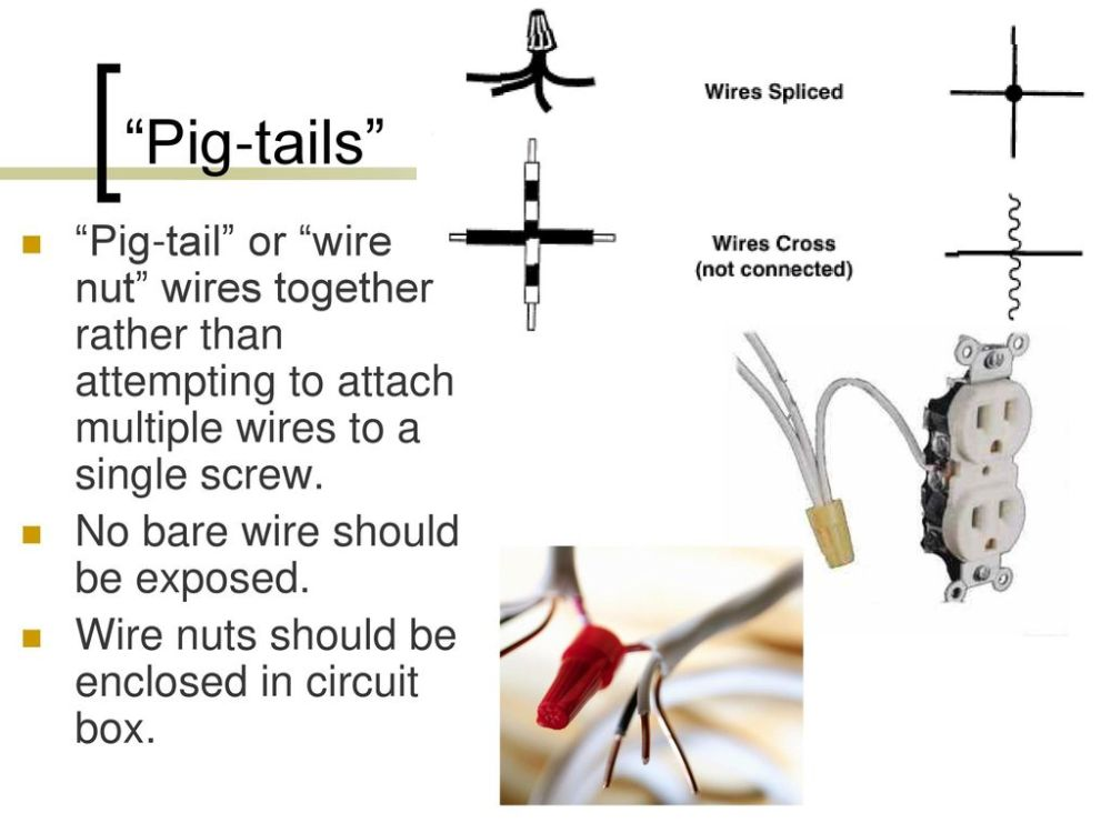 medium resolution of pig tails pig tail or wire nut wires together rather than attempting to attach