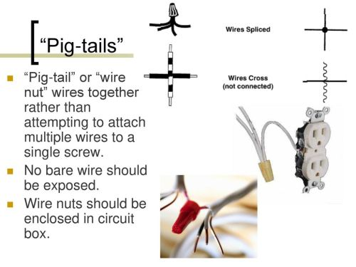 small resolution of pig tails pig tail or wire nut wires together rather than attempting to attach