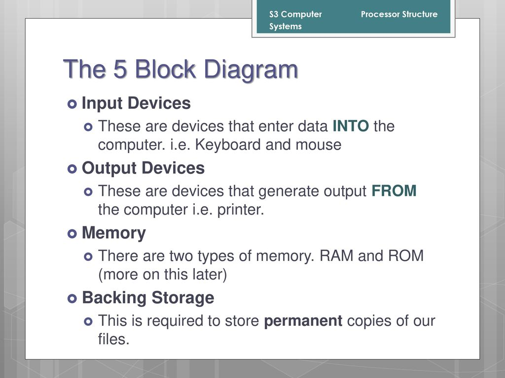 hight resolution of the 5 block diagram input devices output devices memory