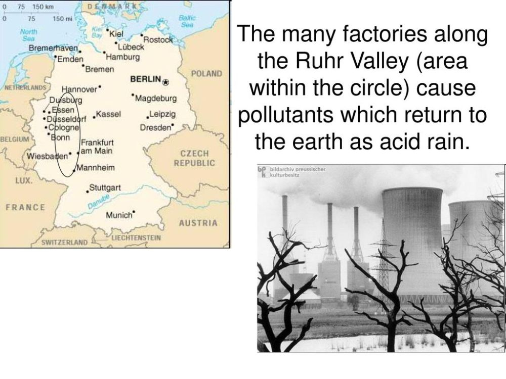 medium resolution of 14 the many factories along the ruhr valley area within the circle cause pollutants which return to the earth as acid rain