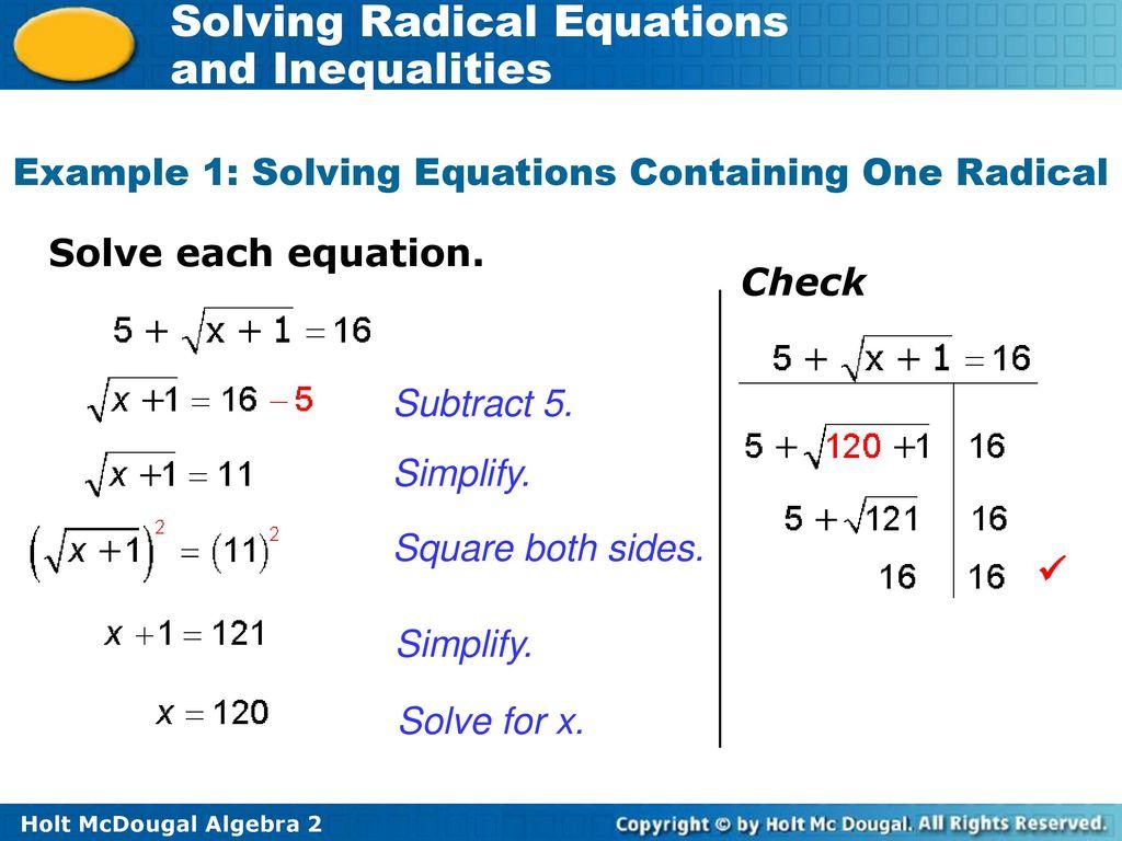 Solving Radicals Worksheet
