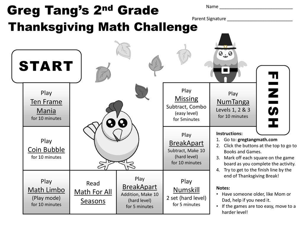 hight resolution of START FINISH Greg Tang's Kindergarten Thanksgiving Math Challenge Play -  ppt download