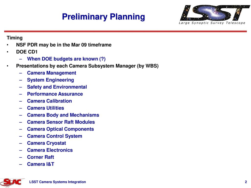 hight resolution of preliminary planning timing nsf pdr may be in the mar 09 timeframe