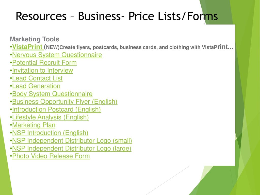 Resources – Business- Price Lists/forms