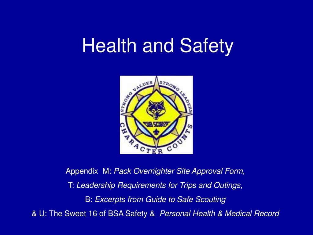 Health And Safety Appendix M: Pack Overnighter Site Approval Form,