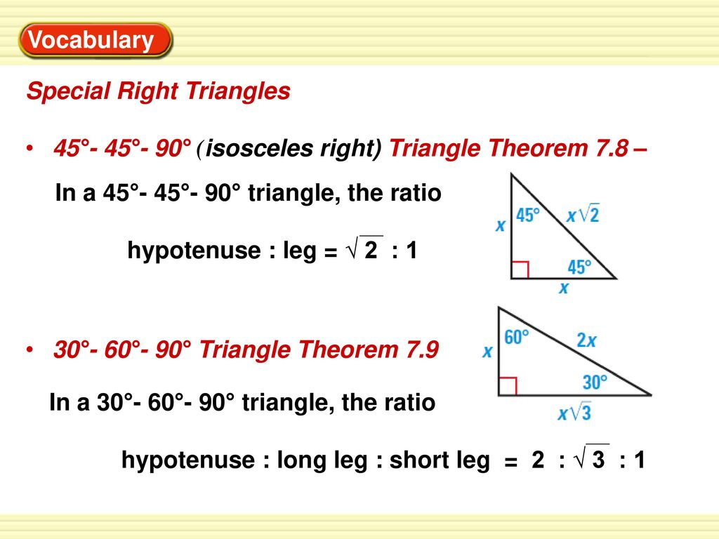 Worksheet Special Right Triangles 45 45 90 Answers
