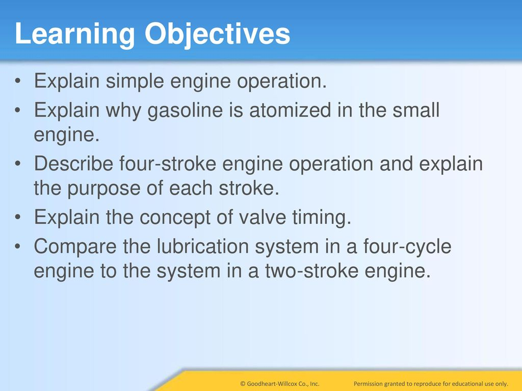 hight resolution of learning objectives explain simple engine operation